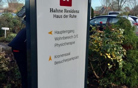 Ein Schild der Hahne Residenz in Hannover